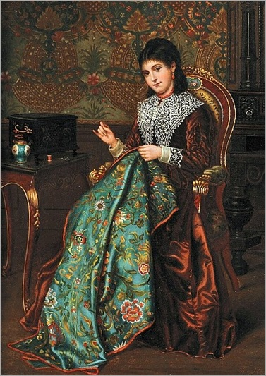 Agapit Stevens Portrait of a Woman with Embroidery 19th century