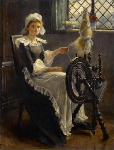 Cornelis Kuppenol (1865-1946) - At the spinning wheel