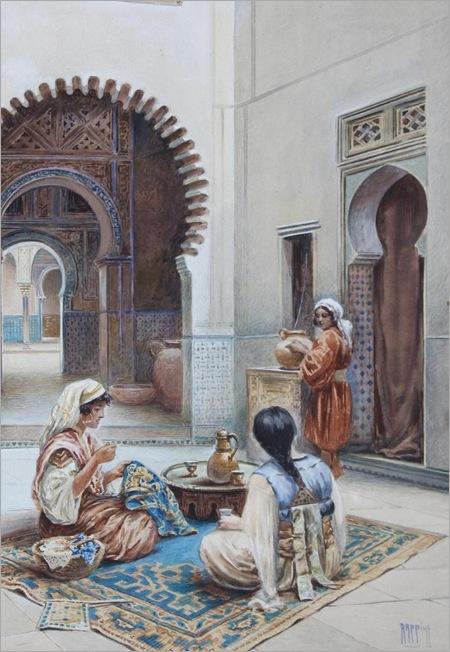 Courtyard of a Moorish House-by-Vittorio-Rappini