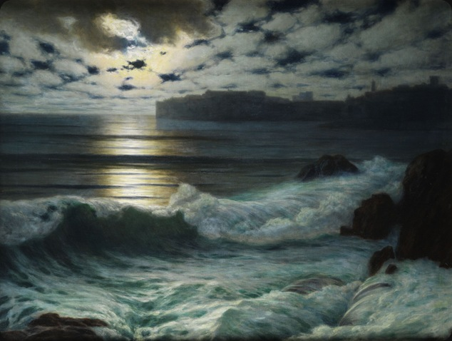 Dubrovnik by Moonlight -1915- Eduard Kasparides (austrian painter)