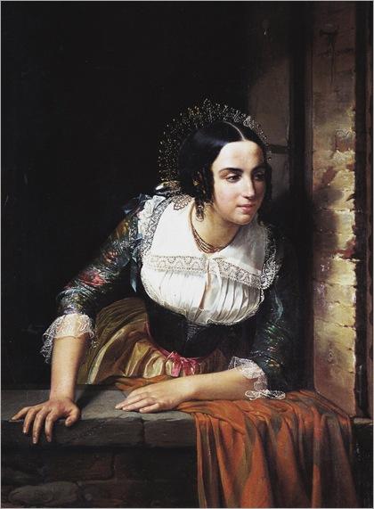 Eliseo Sala (1813 - 1879) - Lucia Mondella at the window, 1843