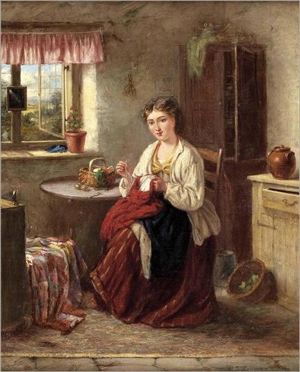 Gertrude Jameson Barnes (1865-1939)-Interieur mit junger Näherin