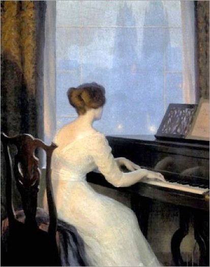 Girl Playing Piano (1918). William Worcester Churchill (American, 1858-1926)
