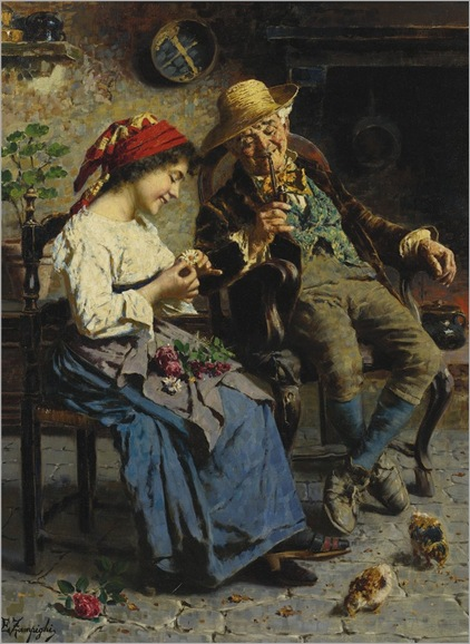 HE LOVES ME, HE LOVES ME NOT BY EUGENIO ZAMPIGHI (italian, 1859-1944)