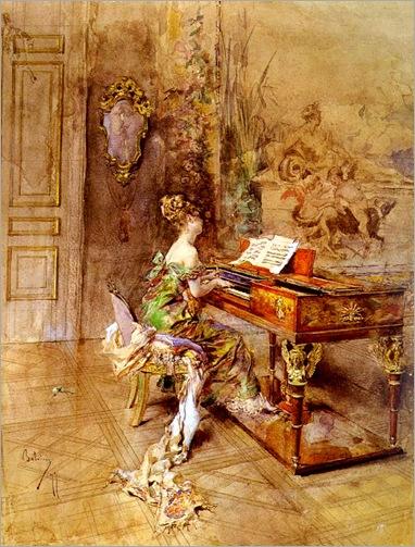 La Pianista. Giovanni Boldini (Italian, Academic, Impressionism,1842-1931)