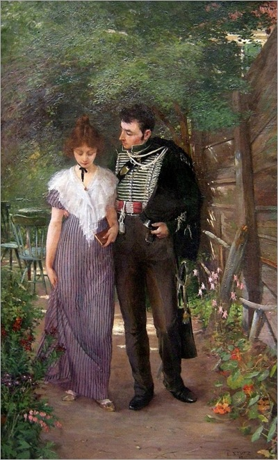 Ludwig Stutz (1865 - 1917) Flirtation in the garden1864