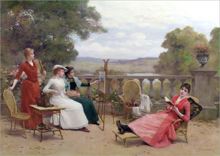 pintura no terraço - Jules Frederic Ballavoine