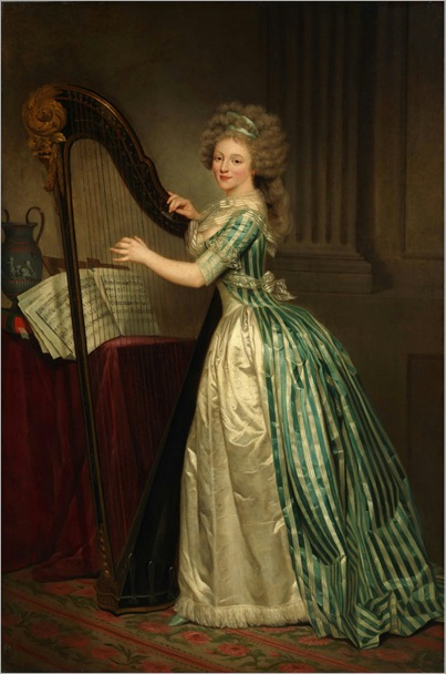 self-portrait with a harp (c.1791) _ Rose Adélaide Ducreux (french, 1761-1802)