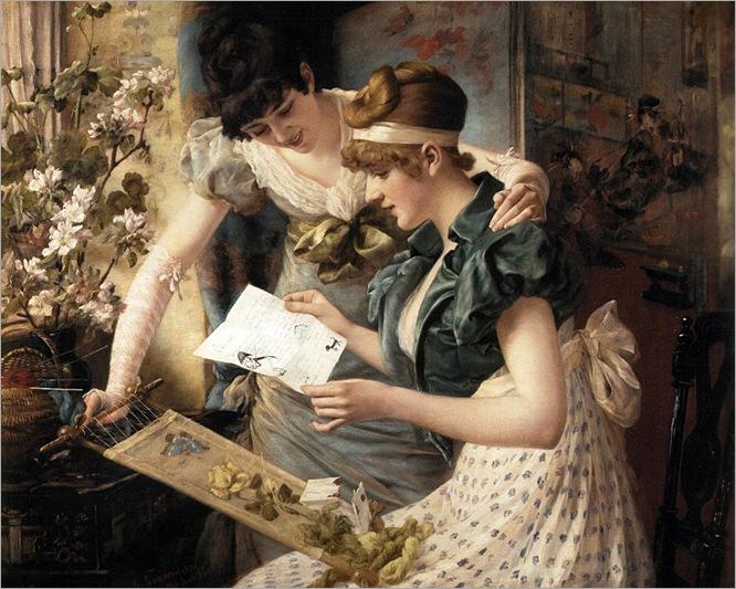 The amusing letter-Karl Gampenrieder (German artist, 1860-1927)