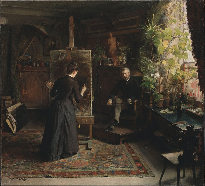 The Danish Artist Bertha Wegmann Painting a Portrait (late 1870s). Jeanna Bauck (Swedish, 1840-1926)