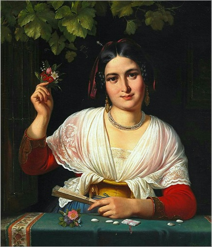 Wilhelm Marstrand A Roman girl in a windowsill during the carnival