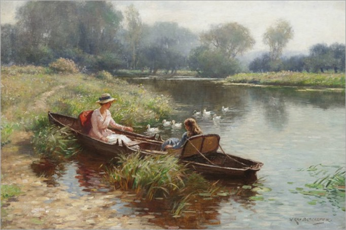 William Kay Blacklock (1872-1924) Boating on the river