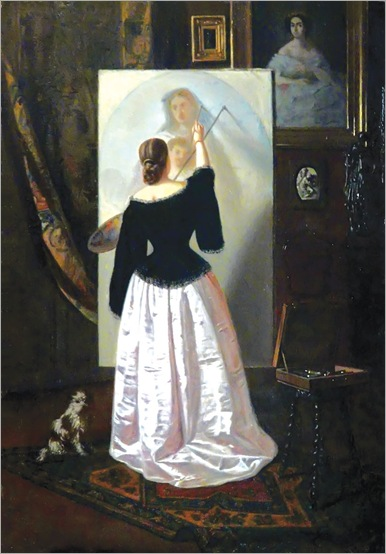Woman Painting (Ana)-by-Theodor Aman
