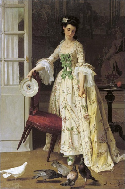 2.Feeding the pigeons whilst holding a 'Chine de Commande' armorial dinnerplate by Joseph Caraud