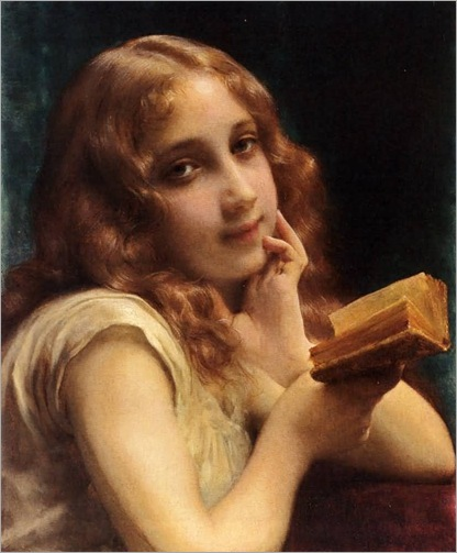 A Little Girl Reading. Étienne-Adolphe Piot (French, Academic Classicism, 1850-1910)