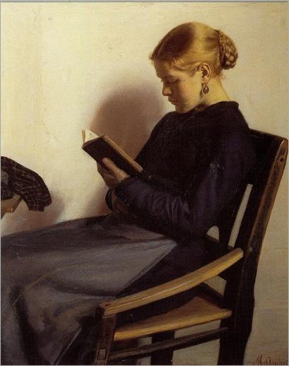 A Young Girl Reading, Maren Sofie Olsen (1885). Michael Peter Ancher (Danish, Impressionism, 1849-1927)