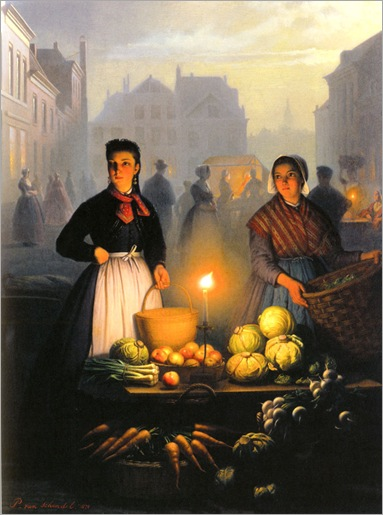 a_market_stall_by_moonlight-Petrus-Van-Schendel