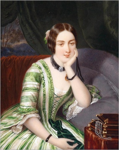 Adolf Theer - Portrait of a Dreamy Young Woman in a Green Striped Dress, Sitting by a Jewellery Case (1850)