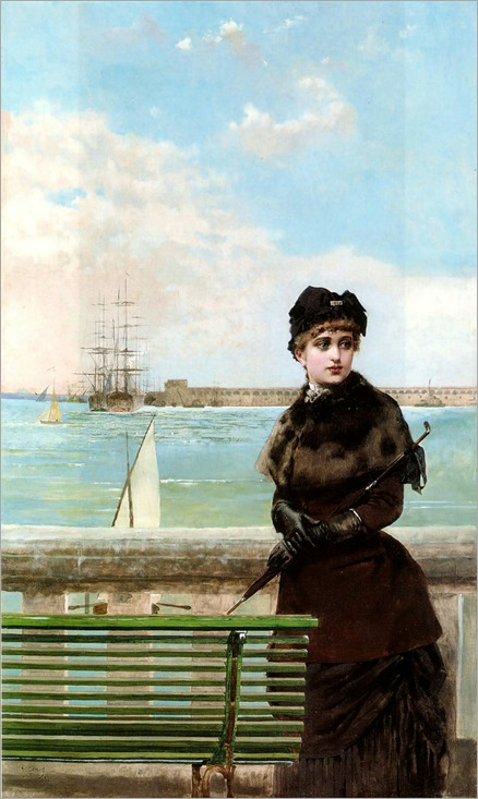 an-elegant-woman-at-st-malo-Vittorio_Matteo_Corcos
