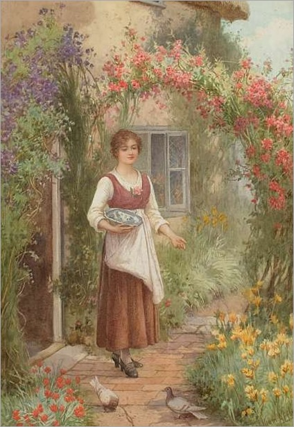 At the Cottage Door-William Affleck (british, 1869-1909)