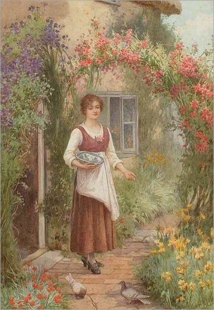 At the Cottage Door-William Affleck (british, 1869-1909)