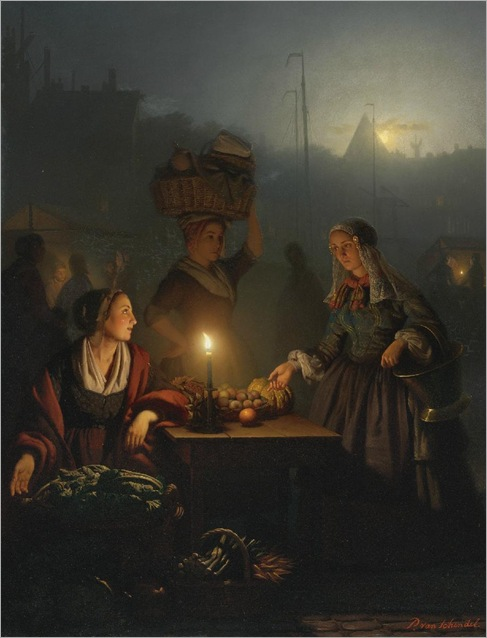 Buying Fruit and Vegetables at the Night Market _ Petrus van Schendel