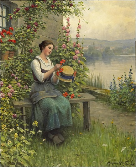 Daniel Ridgway Knight (1839 - 1924) - Trimming her Sunday hat, 1923