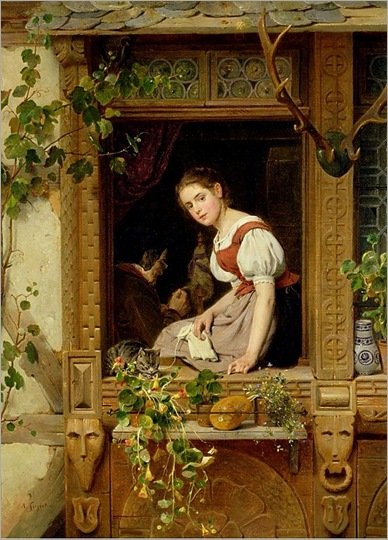 Dreaming on the Windowsill - August Friedrich Siegert (german painter-19th century)