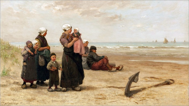 Edith Hume (1843-1906)- Watching for the Return of the Ships on the Beach at Katwijk