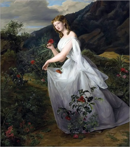 Ferdinand Georg Waldmüller (1793-1865) - Young lady in a white dress