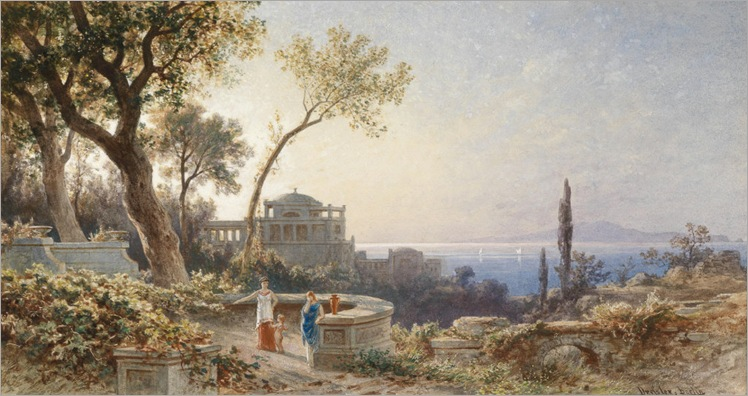 Friedrich Wilhelm Albert Dressler 1822 Italian coast and figures on a terrace