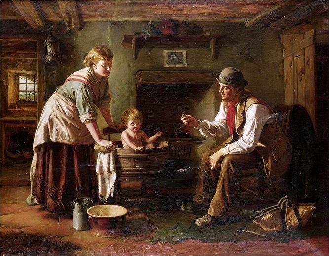 George Augustus Freezor (British, fl.1861-1879) - Baby's bath
