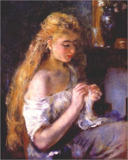 Girl Crocheting - Pierre-Auguste Renoir