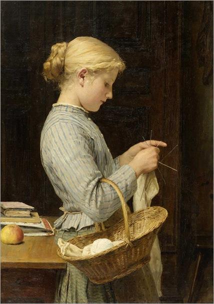 Girl Knitting (1888). Albert Anker (Swiss, 1831–1910)