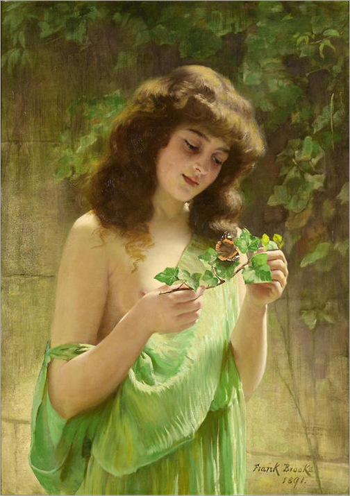 Girl with a Butterfly (1891) by Frank Brooks (1854-1937)