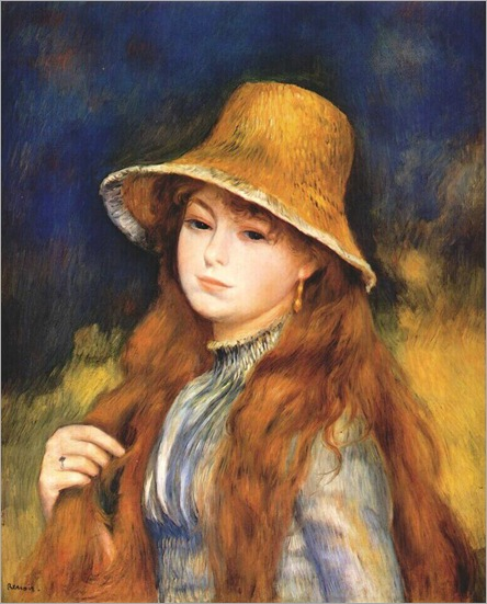 girl with a straw hat c1884-Pierre Auguste Renoir (French artist, 1841–1919)