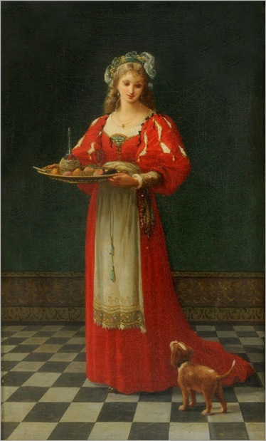 Gustave Doyen -1874-Interior Scene with a girl holding a tray of fruit with a dog by her side
