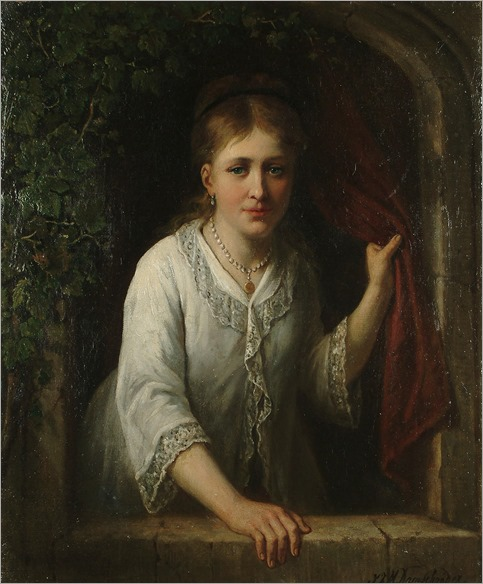 Jan Jacobus Matthijs Damschroeder (1825 - 1905) - An elegant lady at a window ledge