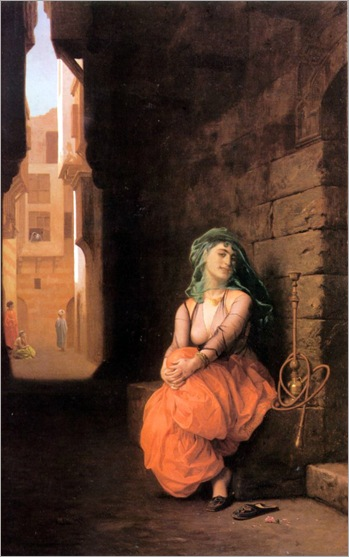 Jean-Leon Gerome-arab girl with water piper-1873