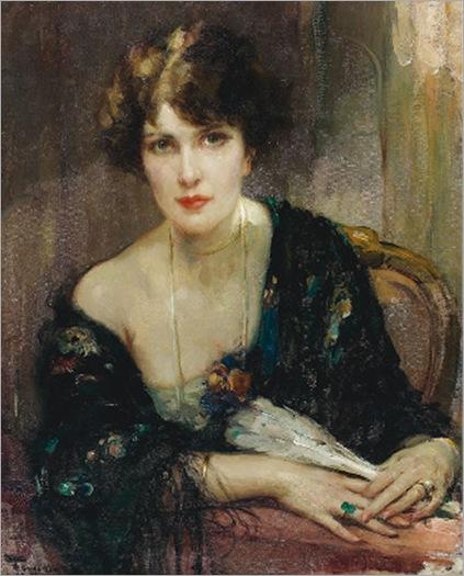Jeune élégante à l'éventail-Fernand-Toussaint (belgium, 1873-1955)