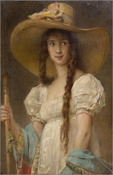 Konstantin Egorovich Makovsky (1839 - 1915) - Woman in White with Hat, Madame Marina Flamant