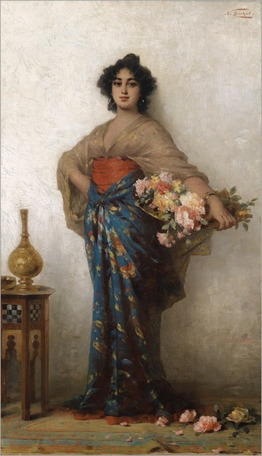 Oriental beauty with a basket of roses, 1907 - Nathaniel Sichel