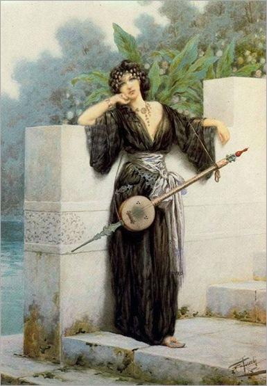 Orientalist woman with a stringed instrument standing near a garden wall- Giuseppe Aureli (italian, 1858-1929)