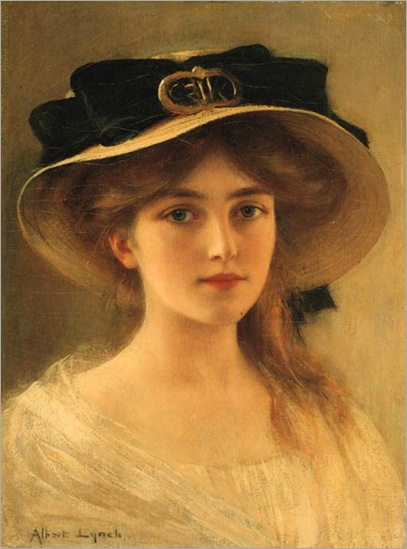 Portrait of a young girl (Straw hat with black ribbon). Albert Lynch (Peruvian, Belle Époque, 1851-1912)