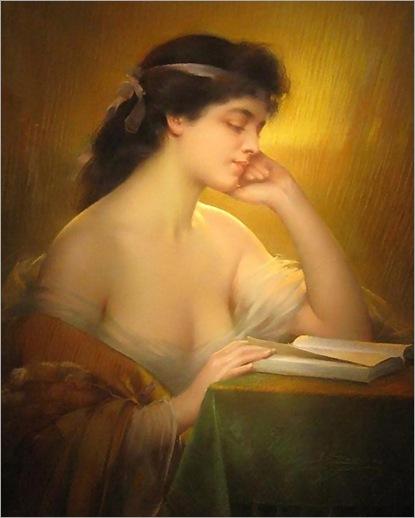 Portrait of an Elegant Lady Reading (1910). Delphin Enjolras  (French, Academic, 1857-1945)