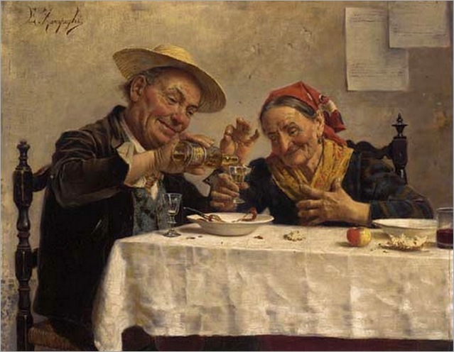 sharing-a-drink-Eugenio-Zampighi (italian, 1859-1944)