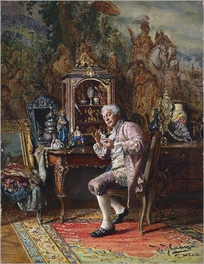 The art lover - Johann Hamza (austrian, 1850-1927)