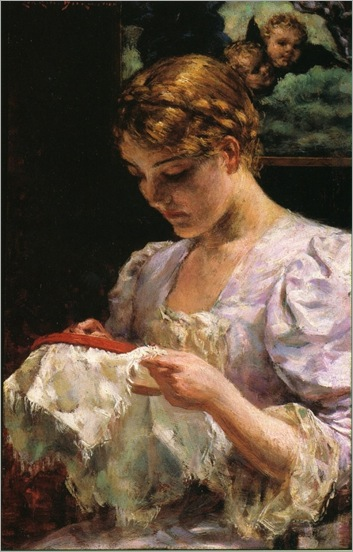 The Embroiderer - James Carroll Beckwith (american painter)