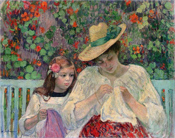 The Sewing Lesson -1906- Henri Lebasque (french painter)