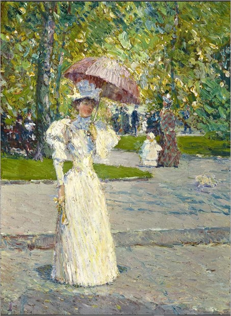 Woman with a Parasol in a Park-Frederick Childe Hassam -1891